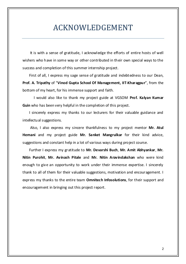Acknowledgement Sample For Internship Report \u2013 templates free printable - Internship Report Sample