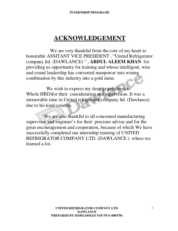 Acknowledgement Sample For Internship Report \u2013 templates free printable - acknowledgement report sample