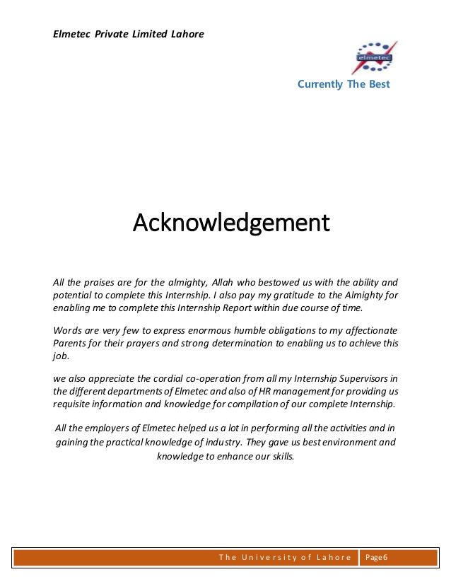 Acknowledgement Sample For Internship Report \u2013 templates free printable