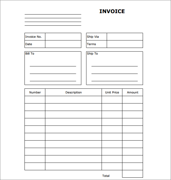 Invoice Template Blank \u2013 templates free printable - free printable business invoices