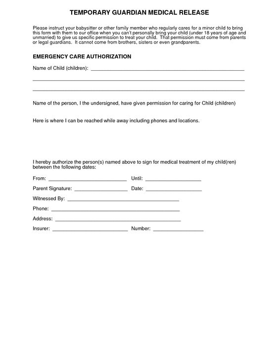 Medical Consent Form For Grandparents \u2013 templates free printable