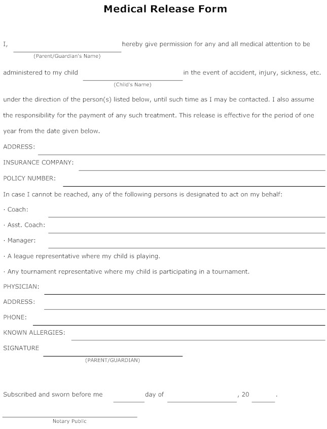 Medical Form Example \u2013 templates free printable