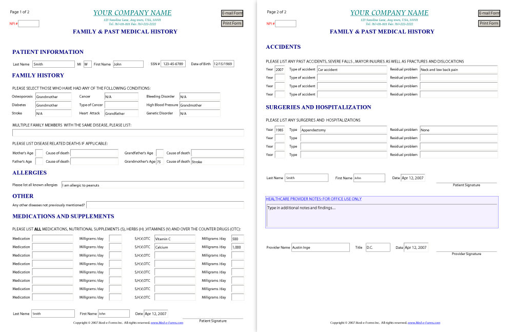 Medical History Form Template u2013 templates free printable - free medical form