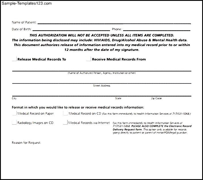Medical Record Release Form Sample \u2013 templates free printable