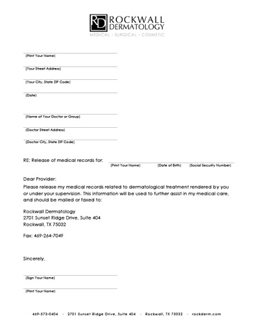 Medical Records Release Form \u2013 templates free printable