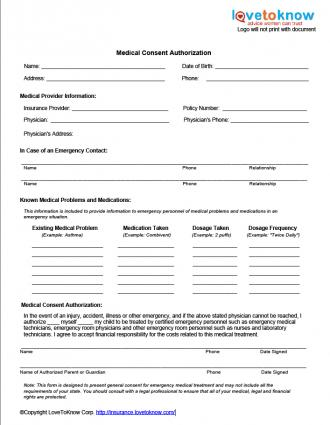 Medical Release Form For Adults \u2013 templates free printable - free medical form templates