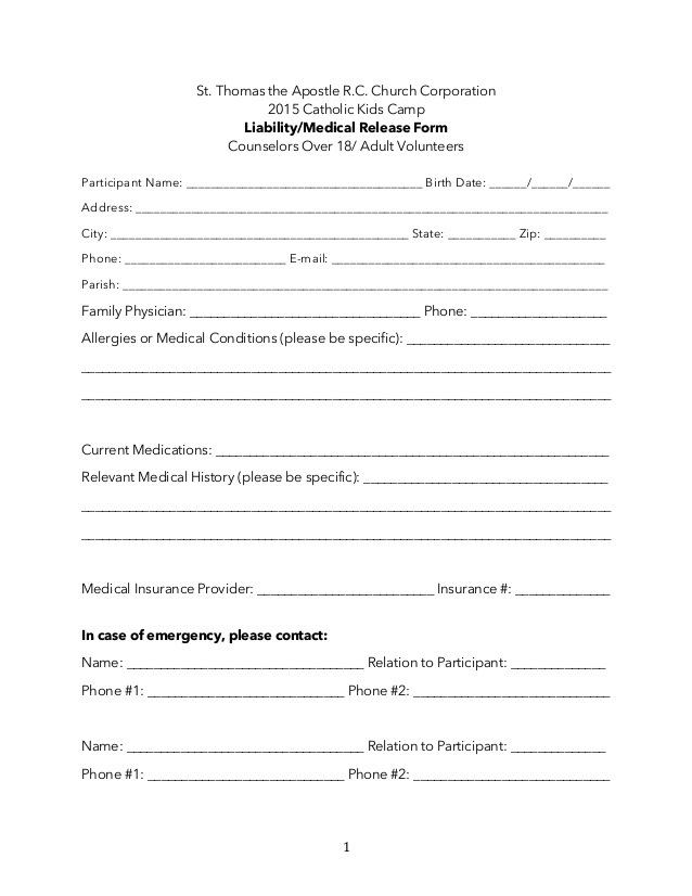 Medical Release Form For Adults \u2013 templates free printable