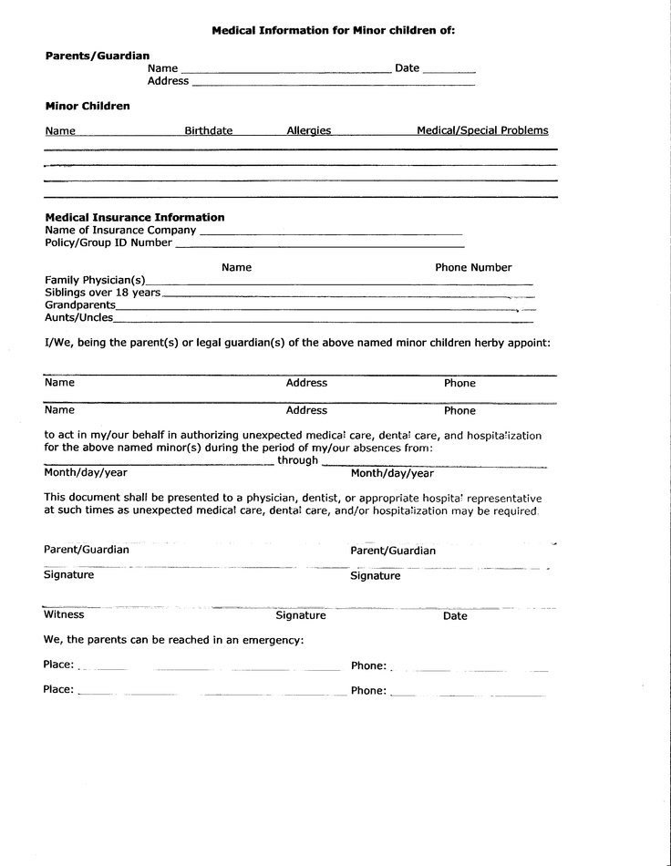 Printable Medical Release Form For Children  NodeCvresume