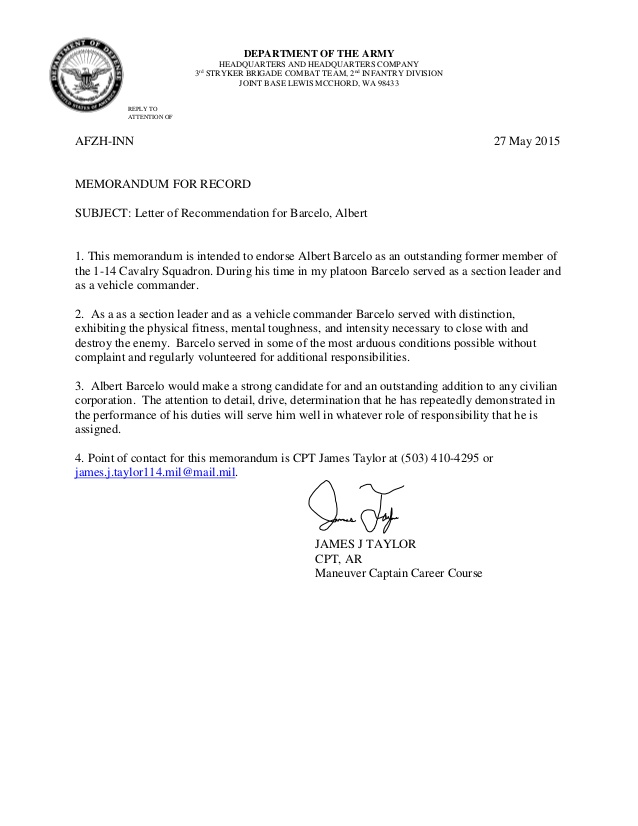 Military Letter Of Recommendation \u2013 templates free printable