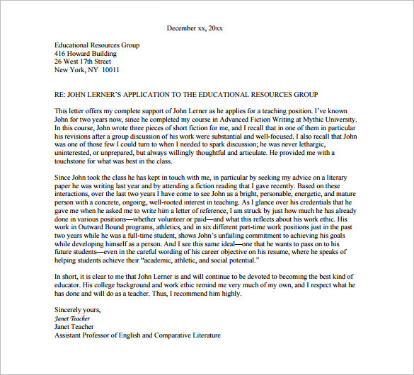 Recommendation Letter Format \u2013 templates free printable