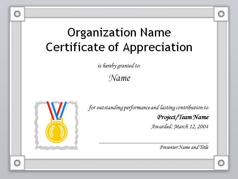 Certificate Appreciation Template Word - mandegarinfo - certificates of appreciation templates for word