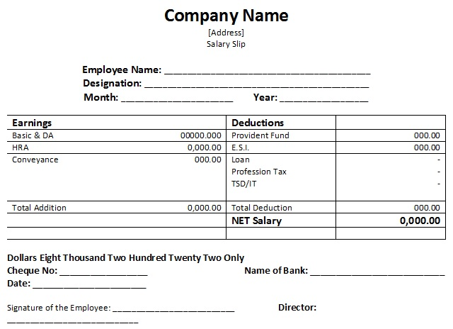 50+ Salary Slip Sample Templates for Free (Excel and Word) - TemplateHub - payment slip format in word