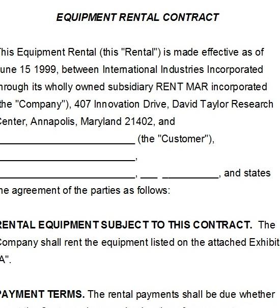 40+ Rental Agreement Sample Templates - TemplateHub - Equipment Rental Agreement