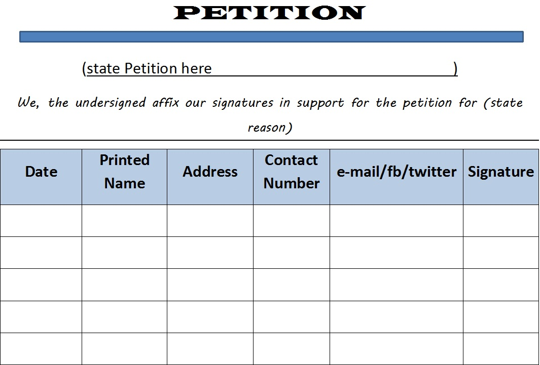 48 Free Petition Templates - TemplateHub - how to research your cause for writing the petition