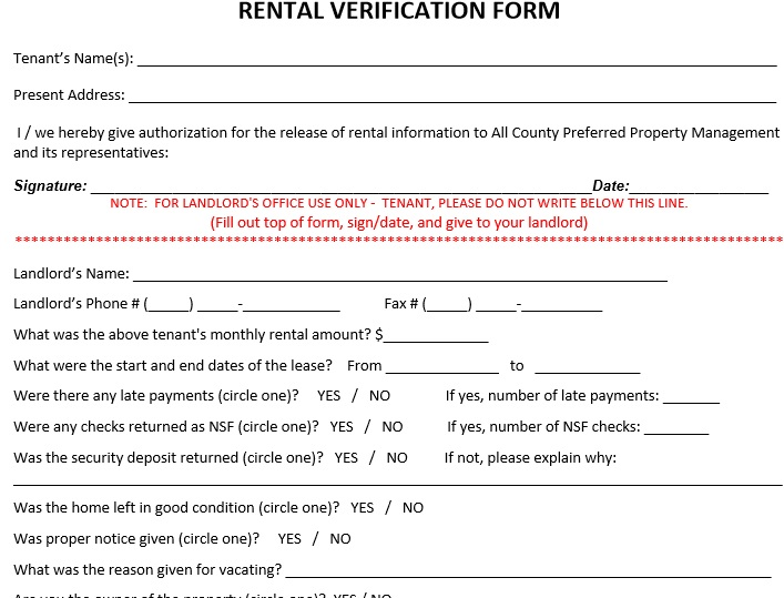 45 Free Tenant Verification Forms - TemplateHub - rental verification form