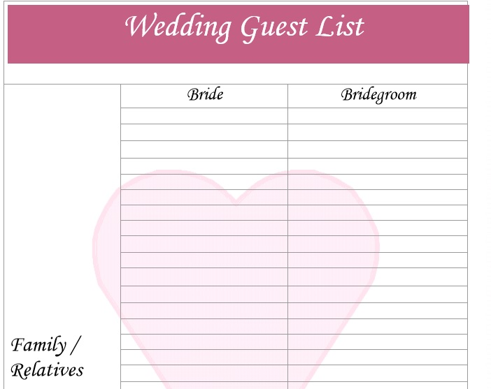 30 Free Wedding Guest List Templates - TemplateHub - sample wedding guest list