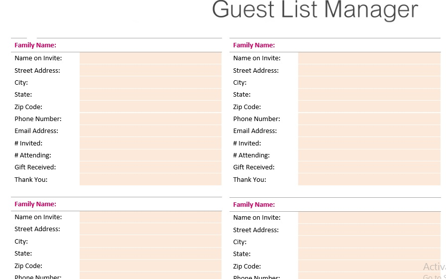 30 Free Wedding Guest List Templates - TemplateHub