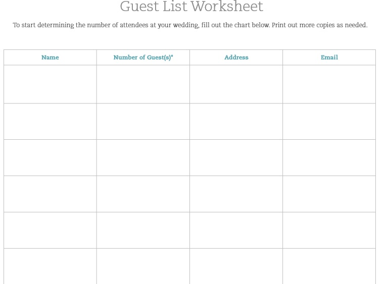 30 Free Wedding Guest List Templates - TemplateHub - attendees list template