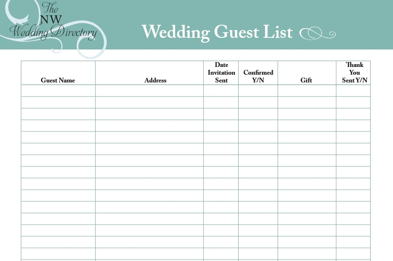 30 Free Wedding Guest List Templates - TemplateHub - guest list template for wedding