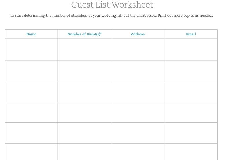 30 Free Wedding Guest List Templates - TemplateHub