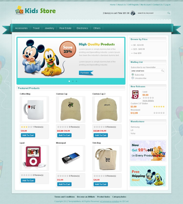 Kids Store 3dCart Template TemplateMela