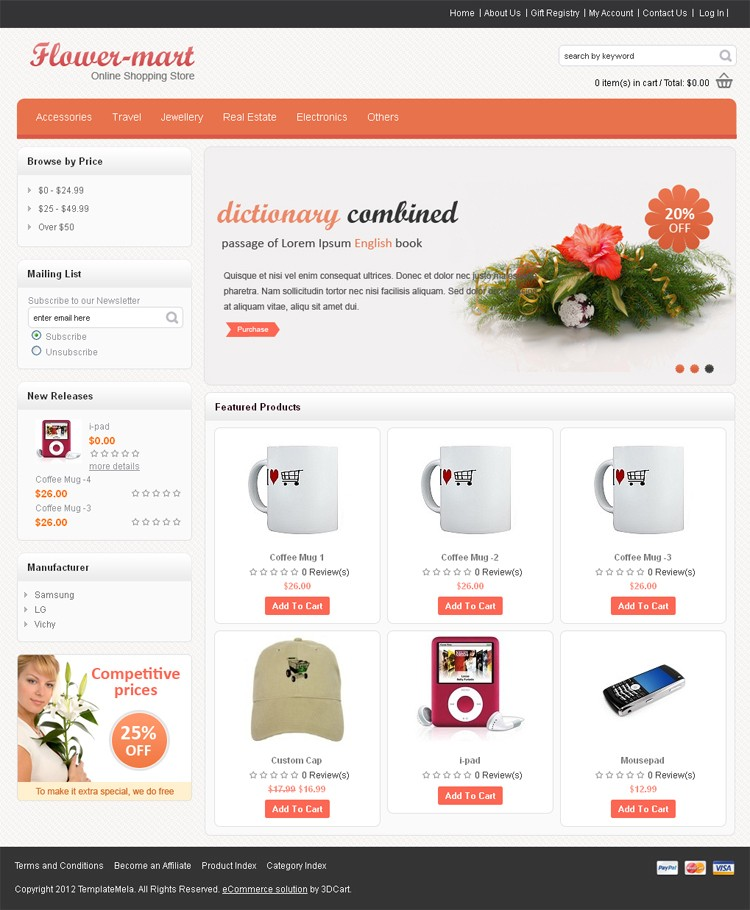 Flower Store 3dCart Template TemplateMela