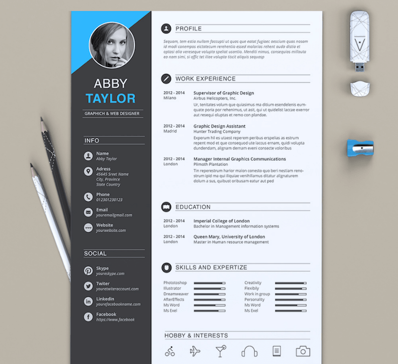 modern resume template word 2017