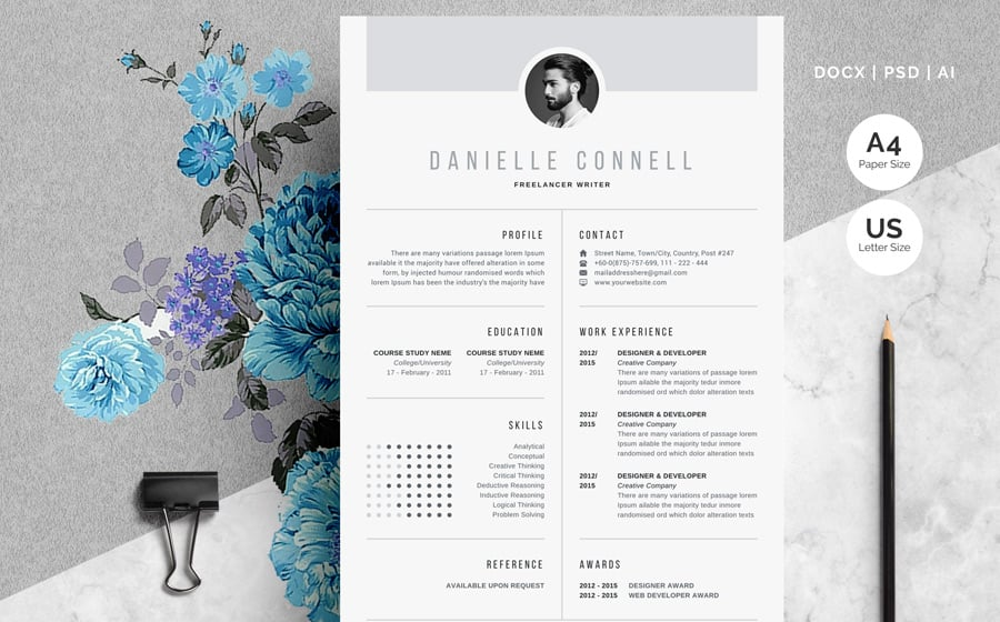 one page resume with picture template