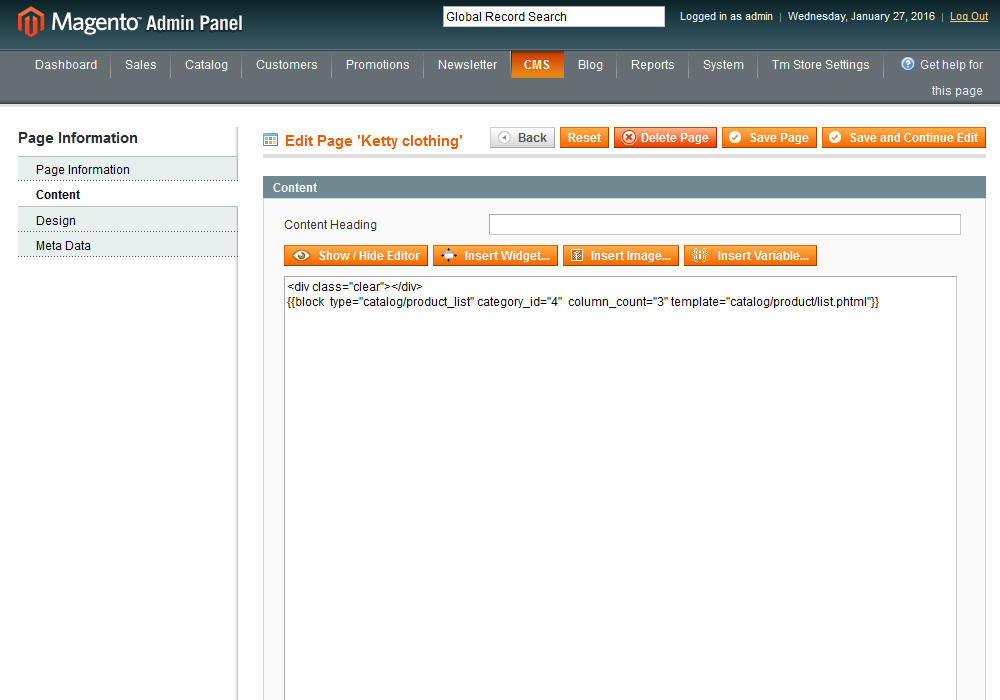 Magento How to display products of specific category on home page
