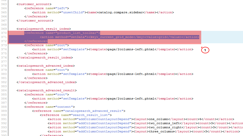 Magento How to change products search results page layout (grid