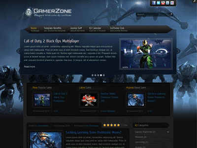 IT GamerZone Joomla K2 Template for Gaming, Video Game Club, xBox - video game template