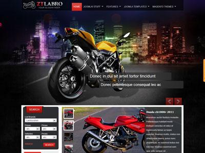 ZT Labro Joomla Template for Auto, Motorbike, Motorcycle