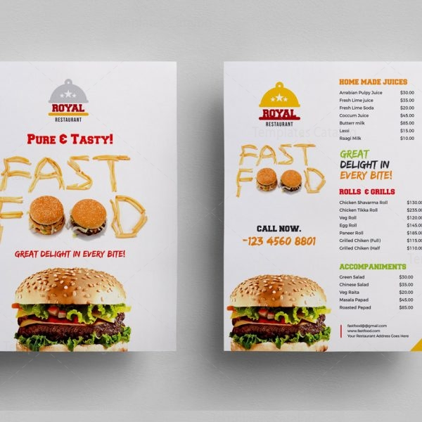 Food Menu Flyer Template 000307 - Template Catalog