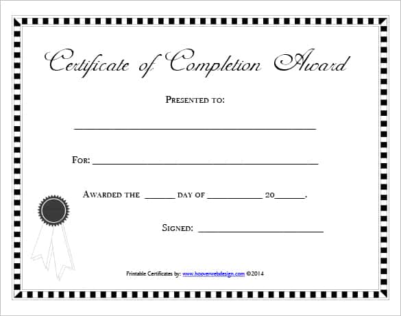 certificate of completion free template word - Josemulinohouse