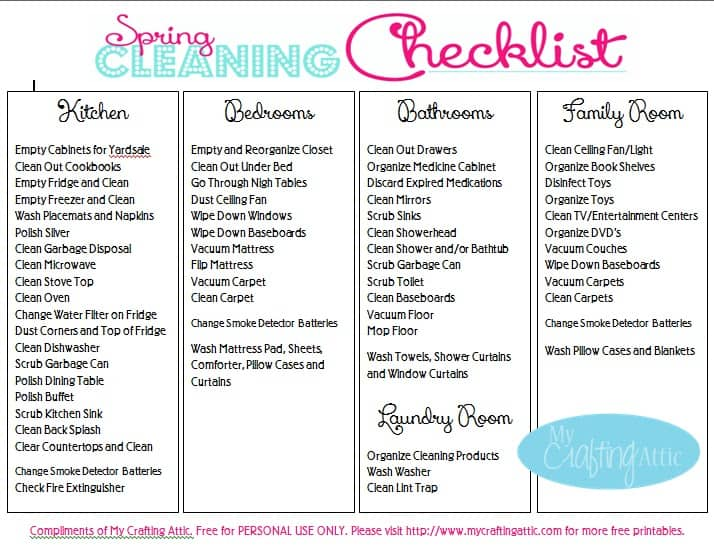 37+ Free House Cleaning List Templates in Word Excel PDF - Sample Spring Cleaning Checklist
