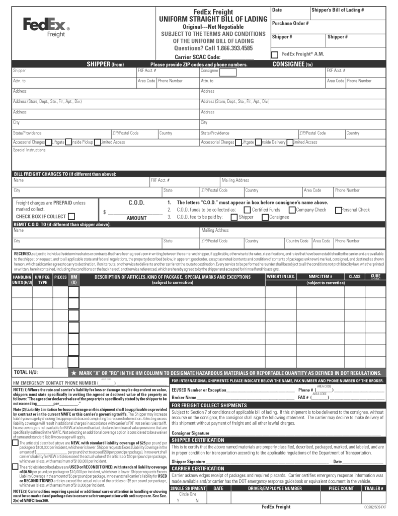 form bill of lading