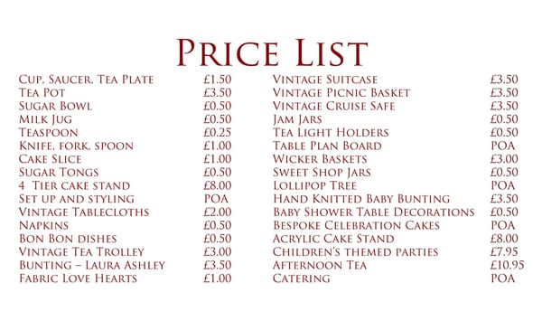Free Price List Template Word Excel Formats Menu List Sample - menu list sample