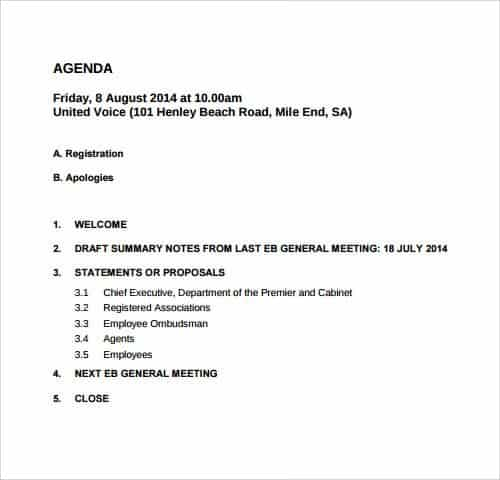... General Meeting Agenda Template   Template   Meeting Summary Template  Word ...