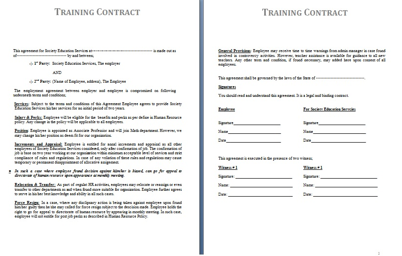 training-contract-template-example-blank