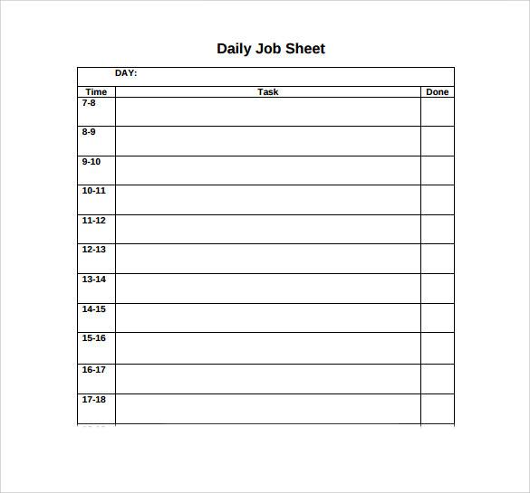 job-sheet-template - job sheet example