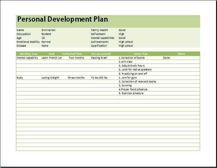 personal-development-planner-printable-template - example of a personal development plan sample