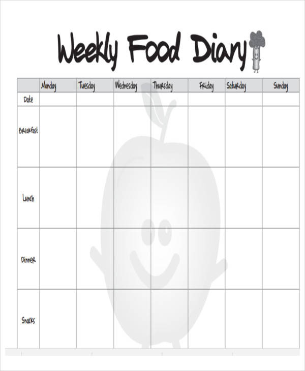 Weekly-Food-Log\u2013log-template