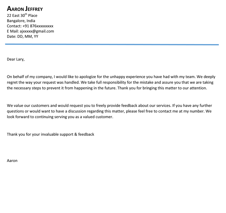 Apology letters Templates and Samples - letter of apology example