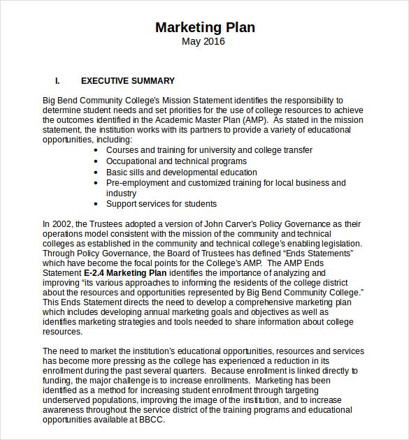 Business-Marketing-Plan-Template-printable-free-Word - marketing business plan template