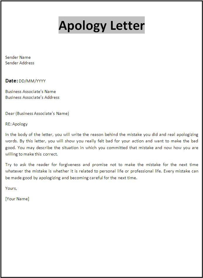 Apology letters Templates and Samples - format of apology letter
