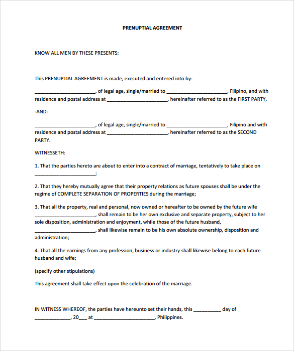 Marriage Contract Template 16+ wedding contract templates u2013 - sample prenuptial agreement template