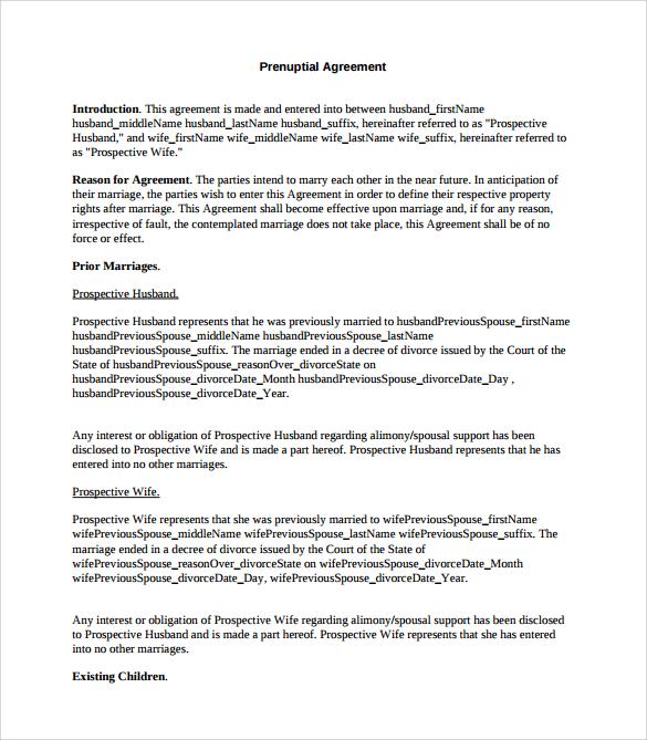 agreement-template-printable-word-doc - sample prenuptial agreement template