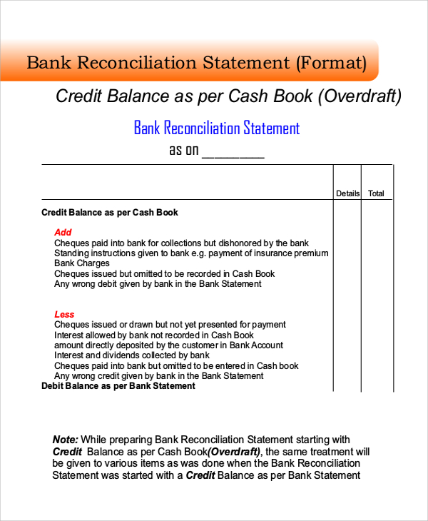 Bank Reconciliation Forms Templates and Samples - bank reconciliation sheet
