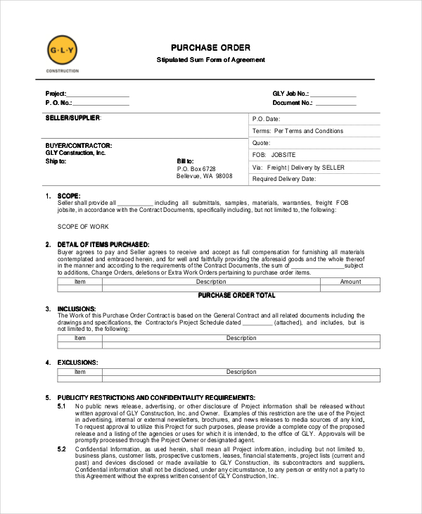 Purchase order form Templates Templates and Samples