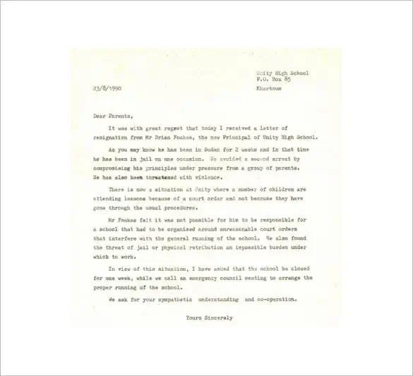 resignation letter for teacher post